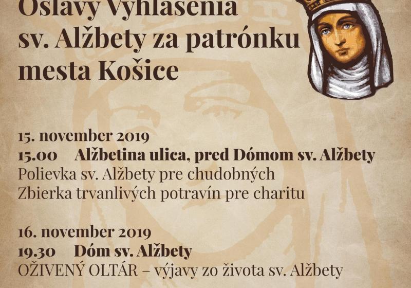 Sv. Alžbeta bude vyhlásená za patrónku mesta Košice 17.11.2019