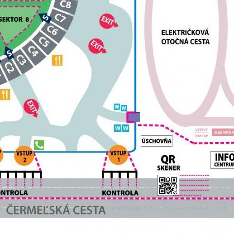 Orientačná mapa stretnutia na štadióne Lokomotíva