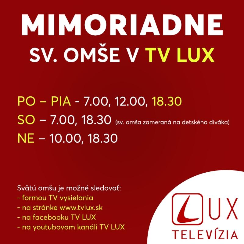 Sväté omše v TV LUX počas zákazu verejného slávenia bohoslužieb